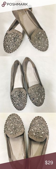 Aldo Rhinestone Loafers Aldo Rhinestone Loafers  Used  Size 9 Taupe color Aldo Shoes Flats & Loafers