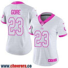 Women's Indianapolis Colts #23 Frank Gore White Pink 2016 Color Rush Fashion NFL Nike Limited Jersey