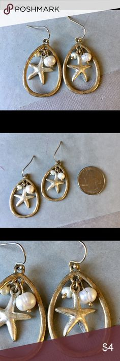 Starfish Genuine Pearl Dangle Earrings Great condition Jewelry Earrings