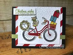 Stamp It Group Christmas in July Blog Hop | Stampin Up Demonstrator Linda Cullen | Crafty Stampin' | Purchase your Stampin' Up Supplies | Bike Ride Stamp Set | At Home with You Stamp Set | Build a Bike Framelits  | Be Merry DSP