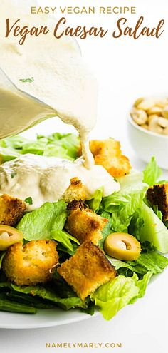 Time to get healthier and level up your salad game all at the same time! This vegan Caesar Salad is so delicious! And it's made healthy thanks to vegan croutons and dairy-free caesar dressing which will give you a refreshing flavorful salad that's perfect as an side salad, appetizer, or even as a main meal.  #namelymarly #vegancaesarsalad #caesarsalad #vegansalads