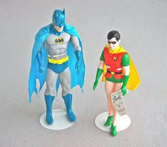 Vintage Batman and Robin Figures Dolls 1988 DC Comics by SUPERSOCK, $90.00