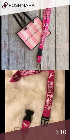 🆕VS PINK Lanyard Victoria's Secret Pink & white lanyard with detachable keychain. Also a loop for phone PINK Victoria's Secret Accessories Key & Card Holders