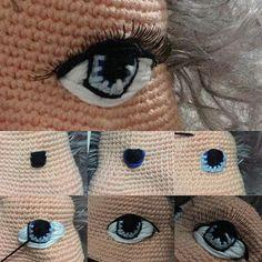 More amigurumi embroidered eyes. Crochet Bodies, Crochet Eyes, Diy Crochet, Crochet Baby, Crochet Doll Pattern, Crochet Patterns Amigurumi, Amigurumi Doll, Crochet Dolls, Tutorial Amigurumi