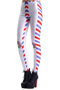 Envelope Edge Statue Of Liberty Print Leggings #Romwe