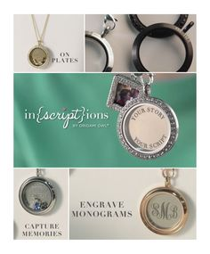 Origami Owl's new Inscriptions - tell your stories in your own words—to write your scripts—by customizing select pieces of O2 jewelry - To place your order, visit my website www.trulockets.origamiowl.com
