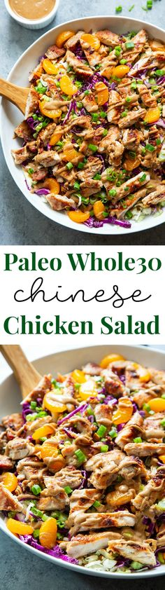 This Chinese Chicken Salad is a crunchy salad dream with tons of sweet and savory flavor. The almond butter sesame dressing is sweetened with dates, making this salad paleo and Whole30 compliant. Perfect for lunches and dinners, and the leftovers save well to pack the next day.