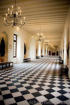 a very good friend(I won't say who- she'd kill me) and I did a waltz all the way down this corridor as soon as we came through the door! French Courtyard, Loire Valley France, Big Mansions, Arched Doors, Old Room, Million Dollar Homes, French Chateau, Beautiful Buildings, Estate Homes