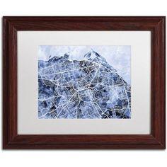 Trademark Fine Art 'Edinburgh Street Map B' Canvas Art by Michael Tompsett, White Matte, Wood Frame, Blue
