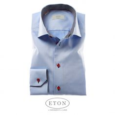 Limited Edition Eton Dress Shirt – Light Blue with Red Stitching and Contrasting Collar with Cuff. | eton classic fit classic shirt eton shirts eton contemporary fit | Eton Store