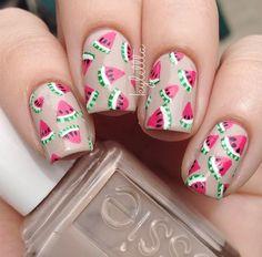 Watermelon nail art #summer #nails