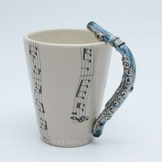Flute Mug Original hand sculpt and hand paint Durable Stoneware Clay  I would love this!