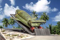 Thunderbird 2 scale model on launch pad Thunderbird 1, Timeless Series, Thunderbirds Are Go, Sci Fi Ships, Model Maker, Sci Fi Tv, Old Cartoons, Science Fiction Art, Batmobile