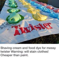 Twist on paint twister  Shaving cream twister with food dye Paint twister that stains