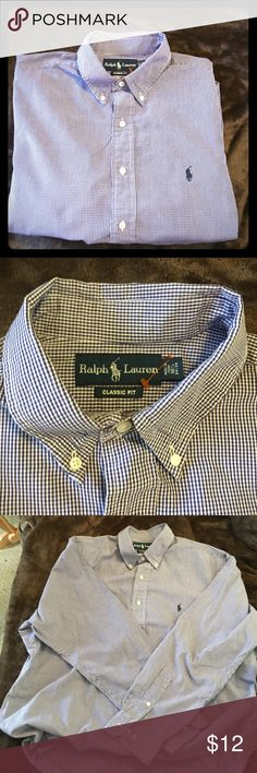 "💙Mens Ralph Lauren Classic Fit plaid Shirt Large Blue white ""Classic Fit"" plaid long sleeve. 100% cotton. Polo sign. Excellent condition. Pre-worn. Comes clean & ready to sport. Sz 16 1/2, 34-35 Ralph Lauren Tops Button Down Shirts"