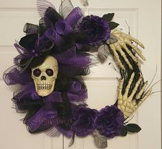 Halloween Skeleton deco mesh grapevine wreath,  purple and black