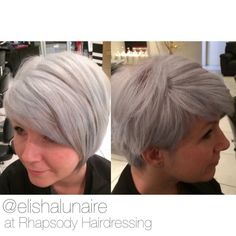 "Elisha Lunaire on Instagram: ""My favourite 2015 hair trend! Icy silver ❄️❄️❄️ #hairdressing #silverhair #greyhair #shorthair #creativecolour #creativecut #icyblonde #asymetricalbob #restyle #hair #hairdressinglife #salonlife #behindthechair #hairbyelisha"""