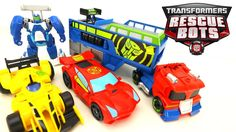 """We check out Transformers Rescue Bots Optimus Prime Racing Trailer with Bumblebee and Sideswipe Racers from Playskool Heroes! These Transformers Rescue Bots are SO MUCH FUN! Optimus Prime and the other figures easily convert from bot mode to vehicle mode. Optimus Prime converts into a semi-truck that can be attached to the racing trailer. More Rescue Bot Videos: """"NEW TRANSFORMERS RESCUE BOTS"""" GRIFFIN ROCK GARAGE TRANSFORMERS TOYS https://www.youtube.com/watch?o=U&video_id=PLaIKH3wysY NEW…"""