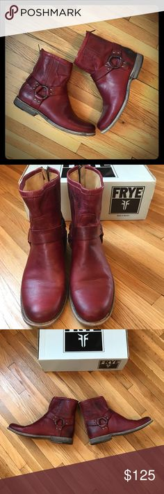 Frye Phillip Harness These are a beautiful burnt red short Frye boot. They are in great used condition. Barely worn! Size 8 B Frye Shoes Ankle Boots & Booties