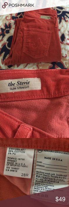 "Anthropologie ( AG ) The Stevie Corduroy EUC   Color is Salmon   Super soft   Slim straight leg   raise: 7.5"" inseam: 32 Anthropologie Pants Straight Leg"