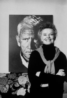 "Legendary actress Katharine Hepburn, who died on this date in 2003, may be best known for her four academy award winning performances but also her relationship with Spencer Tracy who she shared the screen with in several films including ""Guess Who's Coming to Dinner."" Here she posed in front of a poster size photo of Tracy, taken by Phil in her townhouse."