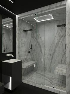 Modern marble shower! Fabulous!
