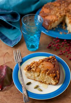 Autumn Pear Cake with Cinnamon and Walnuts