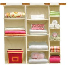 This hanging organizer would be an easy way organize a baby's room or linen closet.
