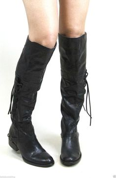 Free People Union of Angels Mojave Tall Boots Jet Black Handwash Vintage - BeltsBootsBling.com