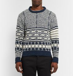 Thom BrowneJacquard-Knit Wool and Mohair-Blend Sweater