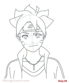 How to Draw Boruto Uzumaki from Naruto step 09 Naruto Drawings Easy, Naruto Sketch Drawing, Anime Drawings Sketches, Cool Art Drawings, Anime Sketch, Cartoon Drawings, Easy Drawings, Anime Naruto, Naruto Art
