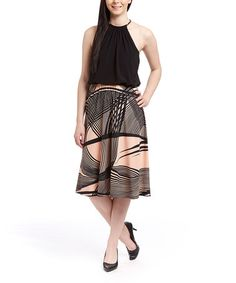 Look what I found on #zulily! Black & Pink Abstract Blouson Dress #zulilyfinds