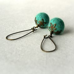 Felted Earrings - Felt Dangle Earrings - Turquoise Earrings, via Etsy.