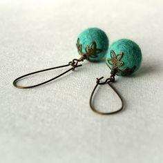Felted Earrings - Felt Dangle Earrings - Turquoise Earrings, via Etsy.
