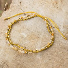 Yellow Jasper Macrame Beaded Bracelet with 24k Gold Plate - Warm Breeze | NOVICA