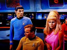 Cpt. Kirk, Cmdr Spock, and Yeoman Rand. Star Trek: The Original Series