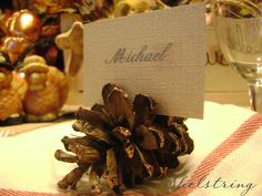 Sugar Bee Crafts: sewing, recipes, crafts, photo tips, and more!: Pinecone Placecard Holders - Shelstring
