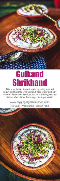 This is an Indian dessert made by using strained yogurt and flavored with Gulkand, rose water and cardamom. Serve with Poori, or just as a dreamy, creamy dessert after dinner. Both ways, it's super delish. #shrikhand #dessert #desi #indianfood #glutenfree #vegetarian #cooking #videorecipe #foodvideo #yummy #delicious #greekyogurt  #strainedyogurt #yogurtdessert #mithai