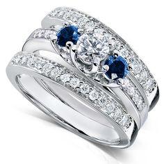 Blue Sapphire and Diamond Bridal Ring Set