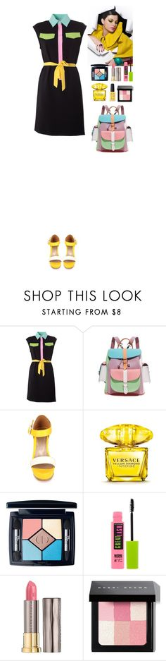 """""""Moschino inspired"""" by eliza-redkina ❤ liked on Polyvore featuring Moschino, Grafea, Versace, Christian Dior, Maybelline, Urban Decay, Bobbi Brown Cosmetics and Kester Black"""