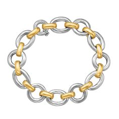 On Sale ! 18K Yellow Gold and Sterling Silver Diamond Cut Rhodium Plated Bracelet, size 7.5''