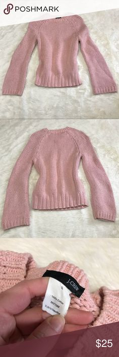 """J. Crew Pink Cable Knit Chunky Sweater Long Sleeve This sweater is gorgeous with a pair of jeans and some boots. It is exceptionally comfortable. Size small and 100% cotton. It is in excellent used condition. Light pink crew neck long sleeve sweater.   Measurements (from flat lay) Length: 23 1/2"""" Sleeve Length: 17"""" Armpit to Armpit: 16""""  ❤️ Bundle and Save on Shipping! ❤️ I Love Offers! J. Crew Sweaters"""