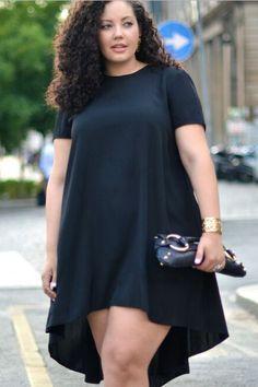 Short Sleeves Scoop Irregular Pure Color Plus Size Dress