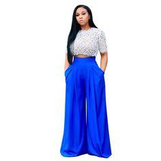 women sets 2018 European and American women's perspective lace blouse fashion wide leg pants suit new G059