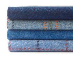 Blue Tweed Bundle. Set of four 9x9 inch squares. 100% by TweedCo