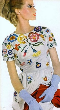 1963 Veruschka in Spanish embroidered white silk peau d'ange by Gustave Tassell, blue kidskin gloves, photo by David Bailey, Vogue