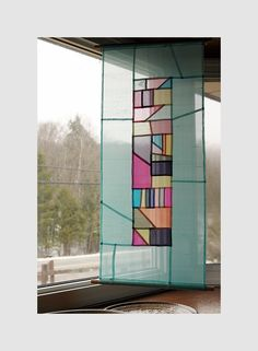 To hang, to frame, to divide a room. I love these colours. Korean Art, Colorful Curtains, Stained Glass Patterns, Mini Quilts, Fabric Art, Quilting Designs, Textile Art, Fiber Art, Quilt Patterns