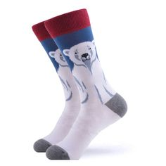 Our adorable polar bears are in need of a hug and will keep you warm during the cold. Featuring a large white polar bear on a blue and white background, these socks will compliment any outfit. Made with 80% Cotton, 17% Nylon, and 3% Spandex, these Women's socks are perfect for US Size 5-8.5 feet. White Polar Bear, Polar Bears, Large White, Blue And White, Blue Socks, Women's Socks, Sock Animals, Crazy Socks, Compliments