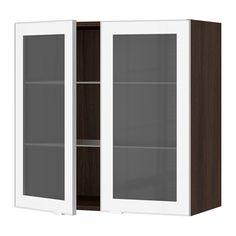 SEKTION Armoire murale 2 portes vitrées IKEA Personnaliser l'espace grâce aux tablettes réglables.