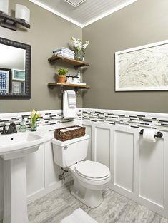 Half bath design ideas small half bathroom design best half bath within half bathroom designs decor Half Bathroom Decor, Bathroom Design Small, Budget Bathroom, Bathroom Shelves, Bath Design, Bathroom Renovations, Bathroom Organization, Bathroom Storage, Basement Bathroom